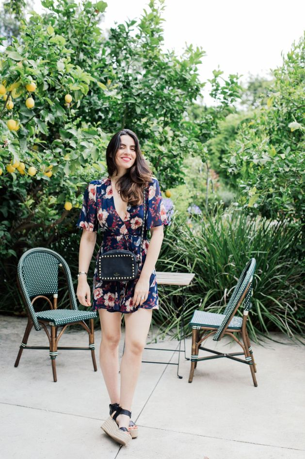 Blogger Style notes by belen wears reformation dress with valentino bag  and vince shoes