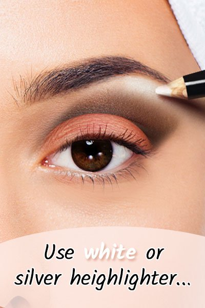 White or Silver Highlighter For Black Eyes