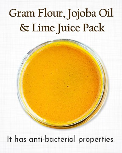 Turmeric Pack with Gram Flour, Jojoba Oil, and Lime Juice