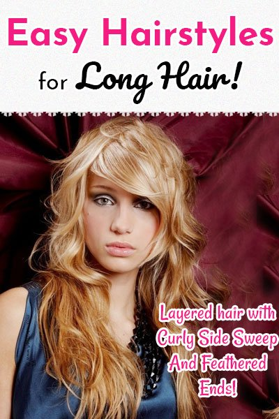 Layered Hair With Curly Side Sweep And Feathered Ends
