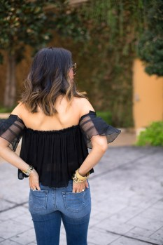 alexis off the shoulder top, j brand high rise jeans, how to wear flare jeans