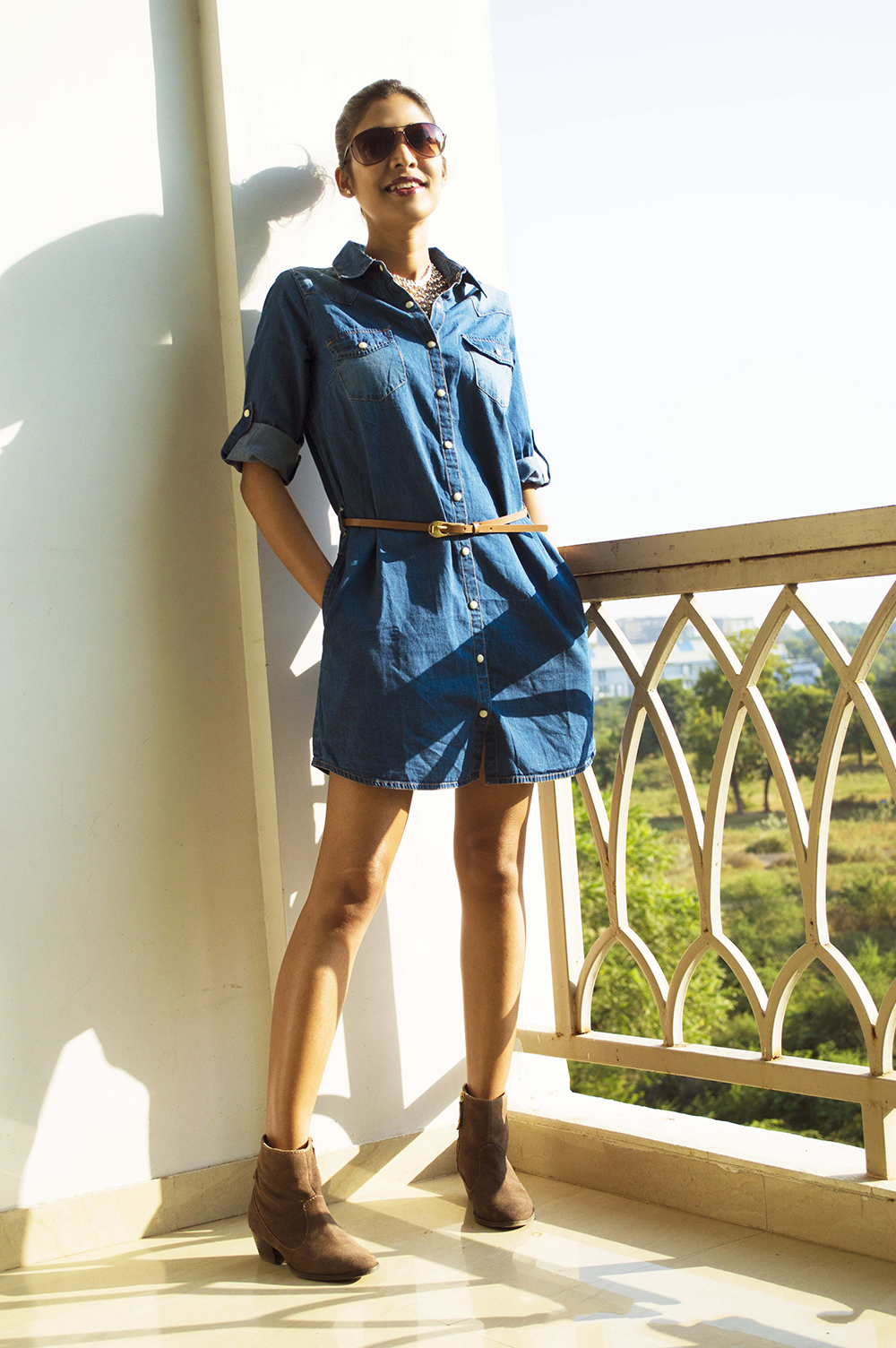 Fashion, Style, Weekend Clothing, Indian Fashion Blogger, Denim Shirt Dress, Photography-1