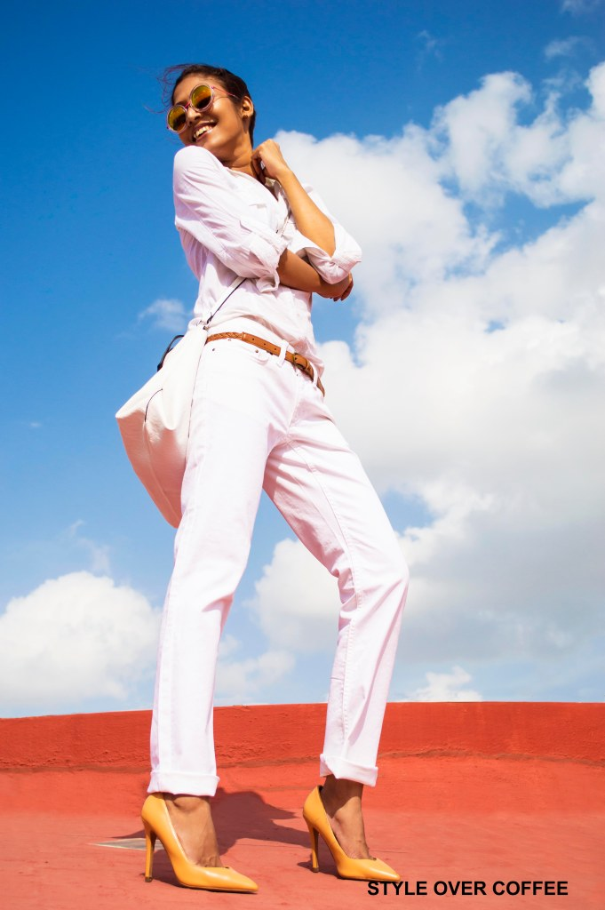 Fashion, Style, Fashion Photography, Fashion Blogger, Street Style, Outfit of the day, OOTD, White on white, all white look, white shirt, Zara shoes, Tan Belt, Zara Tan Belt, Marks and Spencer jeans, Mirrored sunglasses, Round Sunglasses