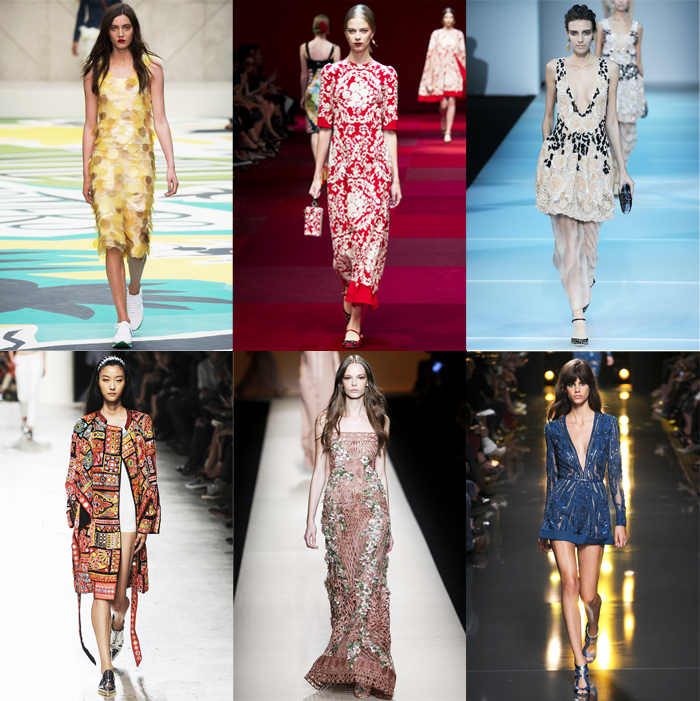 Fashion, Style, Fashion Magazine, Spring Summer 2015 Fashion Trends, Runway Fashion Trends, Spring/Summer 2015 Runway styles, Summer Fashion, Fashion Designers, Ready To Wear Runway Fashion, elaborate fabric surfaces, surface ornamentation, Summer Fashion Trends