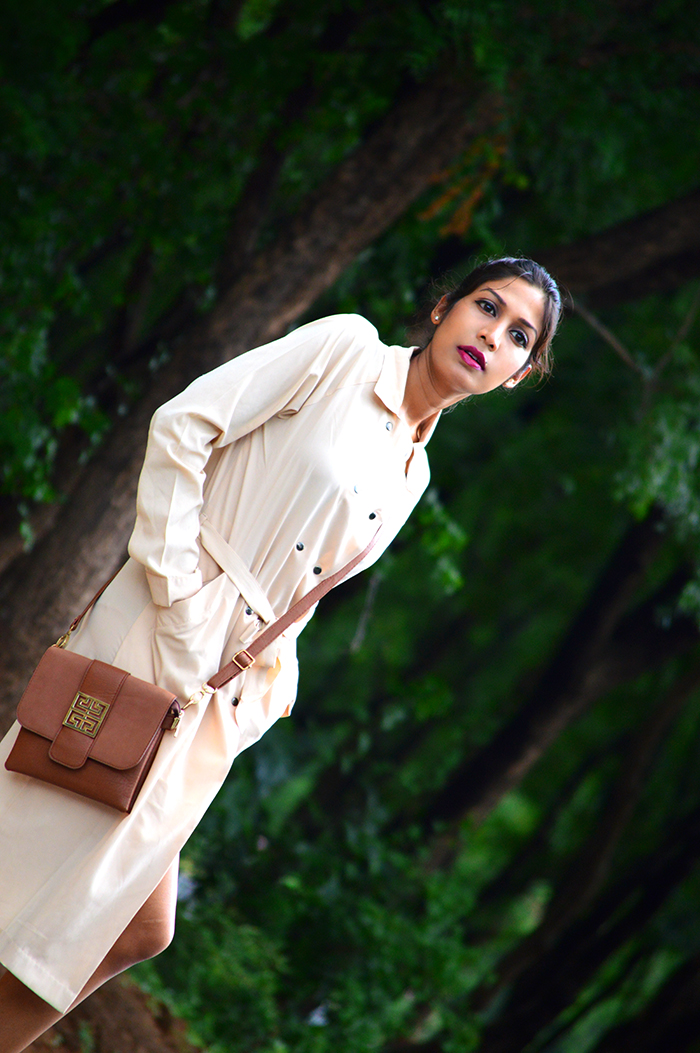 Fashion, Style, Fashion Photography, Outfit of the day, Beige Trench Coat, Street Style, Indian Fashion Blogger, Leopard Printed Shoes, Evening Dress
