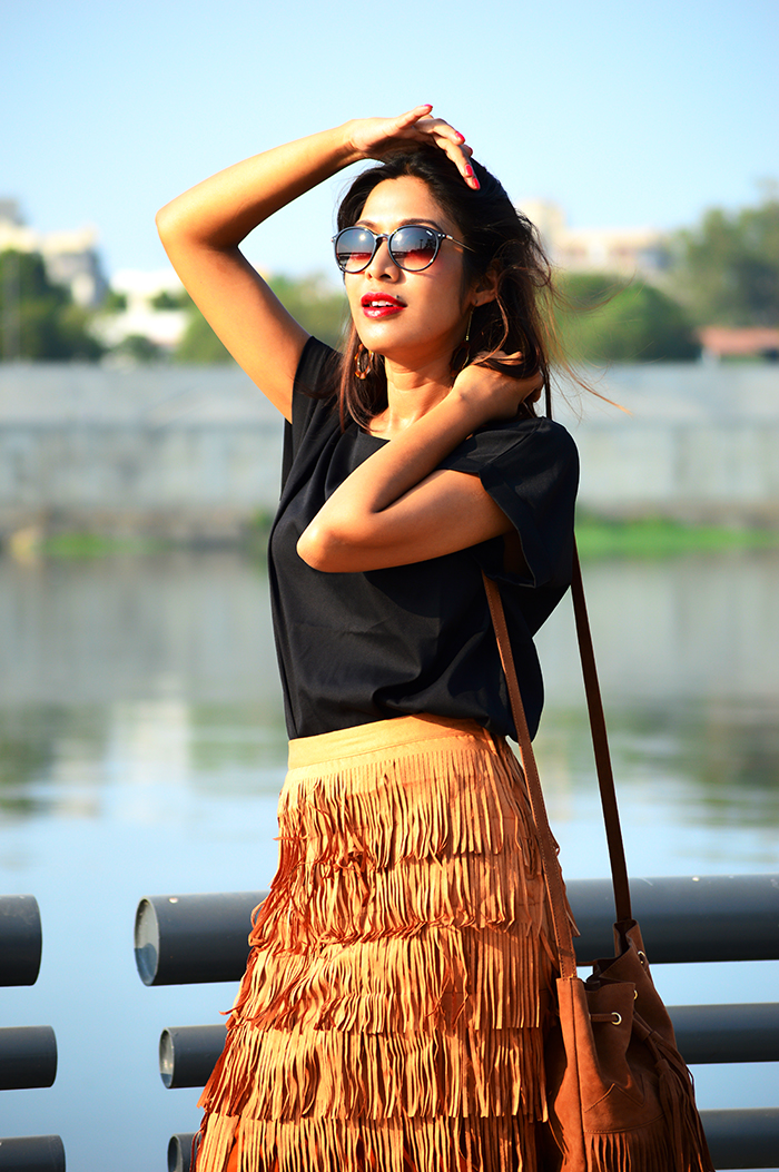 Fashion, Style, Fashion Photography, Street Style, Fashion Blogger, Indian Fashion Blogger, Style Over Coffee, Casual wear, Skirt with Fringes, Indian Fashion Blog, Winter Fashion