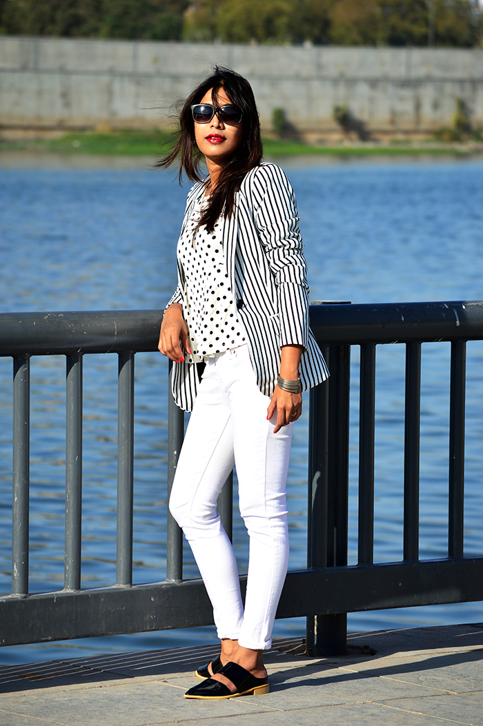 Fashion, Style, Fashion Photography, Street Style, Fashion Blogger, Indian Fashion Blogger, Style Over Coffee, Indian Fashion Blog, Photography, Polka dot, Mango top, Levi's Jeans, White Jeans, Striped Blazer, Vero Moda, Monochrome Fashion