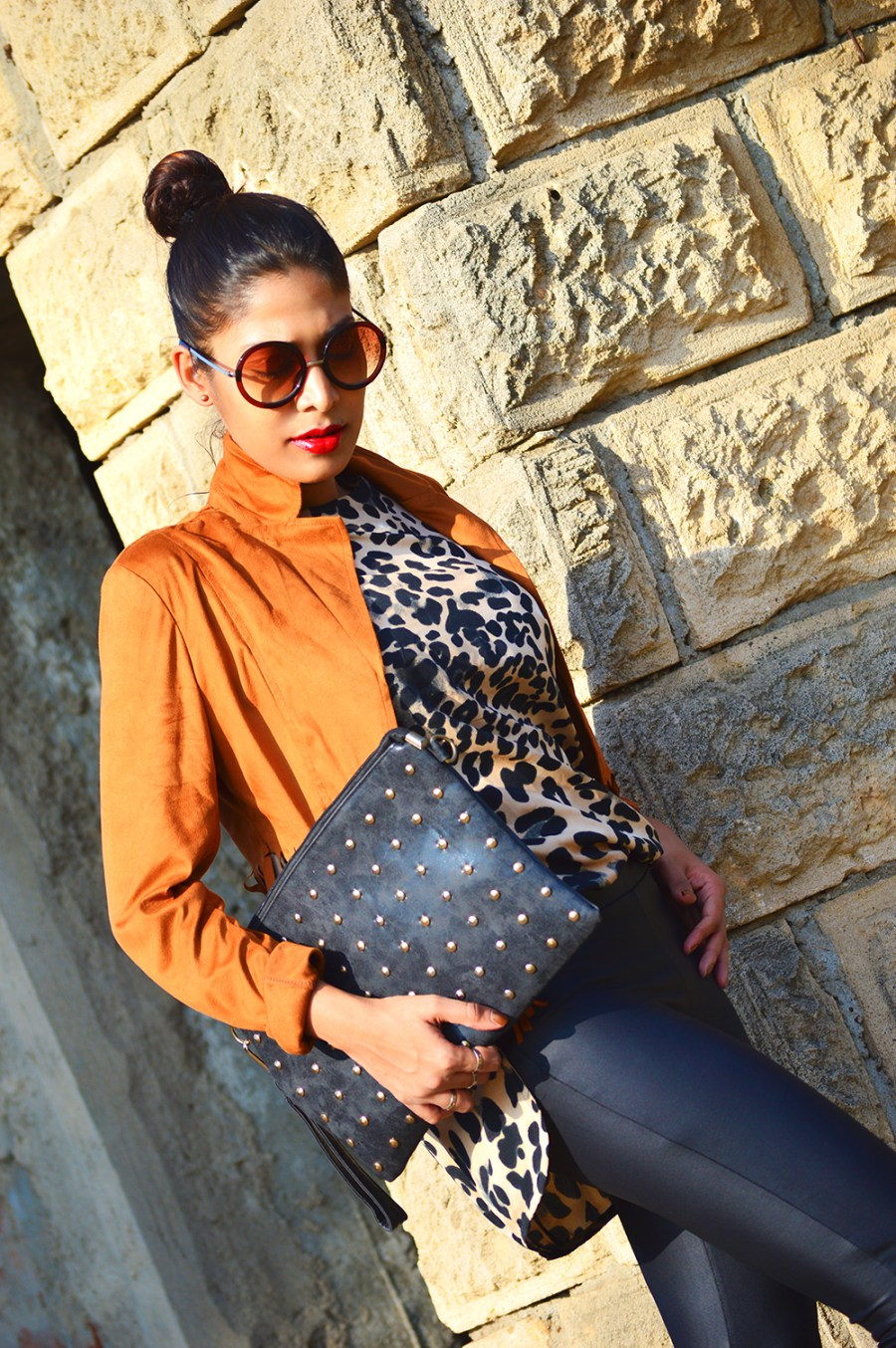 Fashion, Style, OOTD, Indian Fashion Blog, Fashion Photography, Online Fashion Store, Fringe Jacket, Leopard Print, Studed clutch, Retro sunglasses, Coated jegging, Red lipstick, Style Over Coffee, Indian Blogger, Street Style