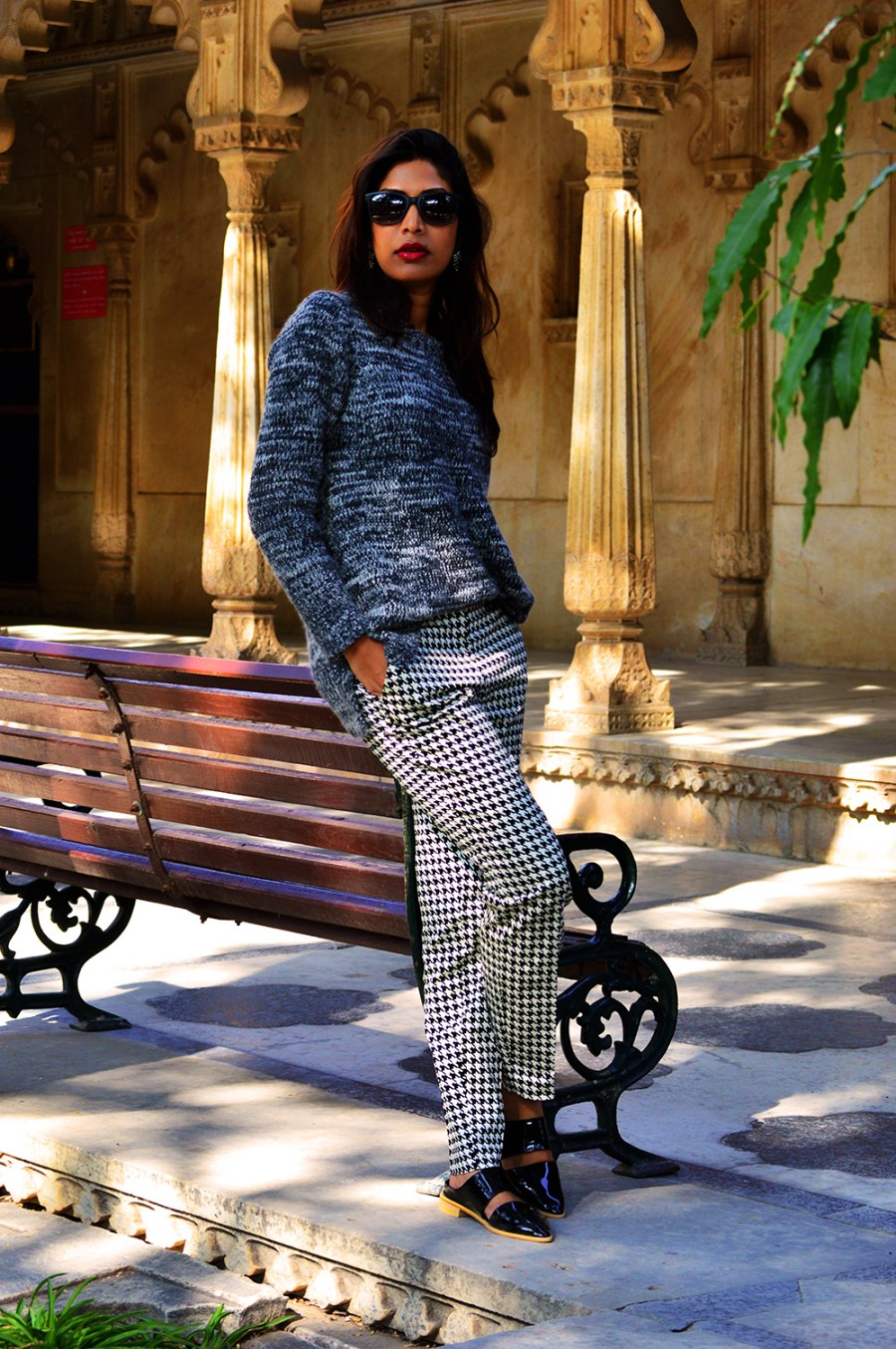Fashion, Style, Indian Fashion Blog, OOTD, Street Style, Fashion Blogger, Fashion Photography, Vero Moda Printed Pants, Mango Sweater, Lara Karen Shoes, Jabong, Holiday, Travel