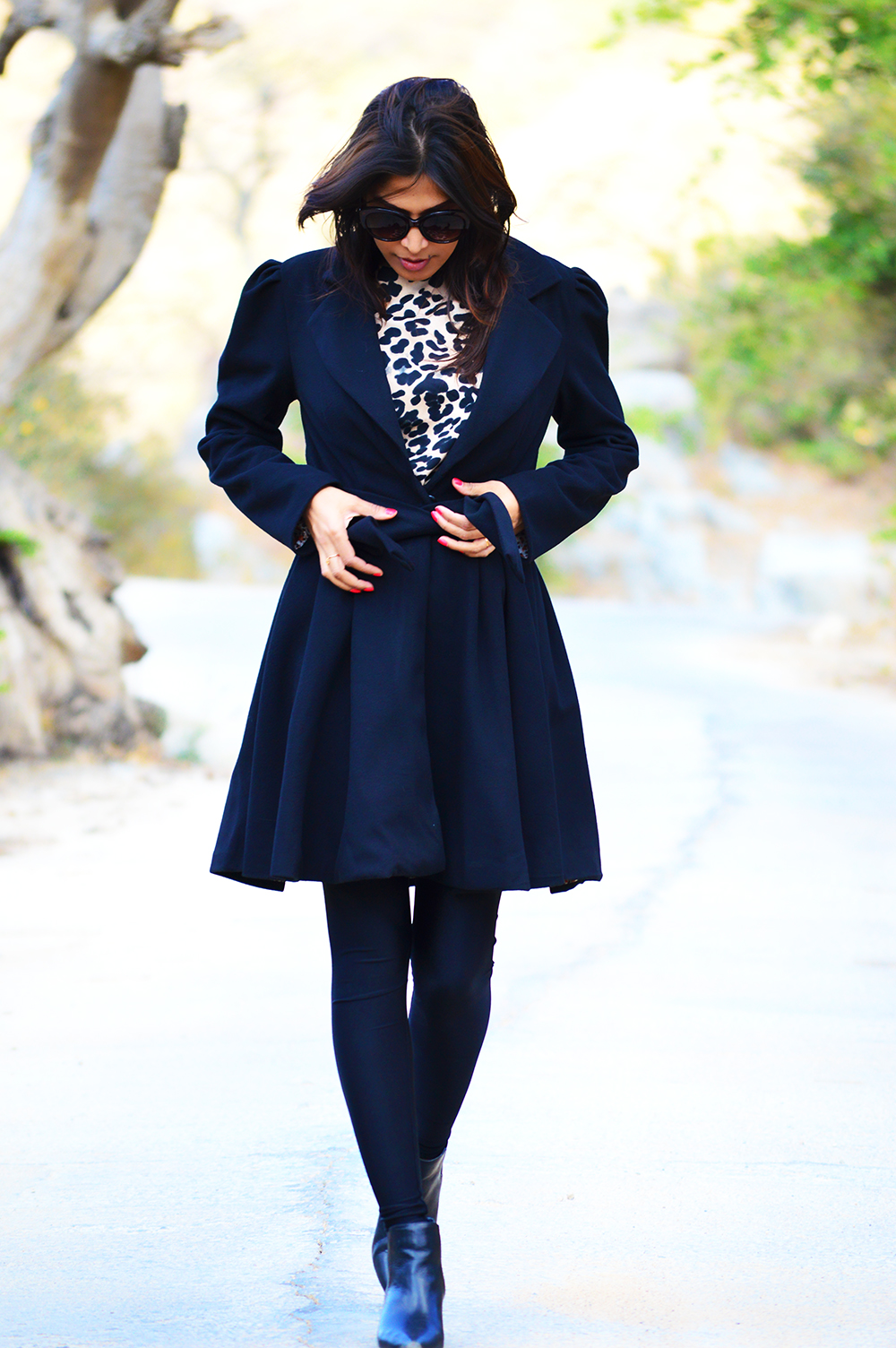 Fashion, Style, Fashion Photography, Street Style, Outfit of the day, Indian Fashion Blog, Black Coat, Shein Coat, Leopard Print, Black Boots, Mango Boots, Forever 21 sunglasses, top fashion