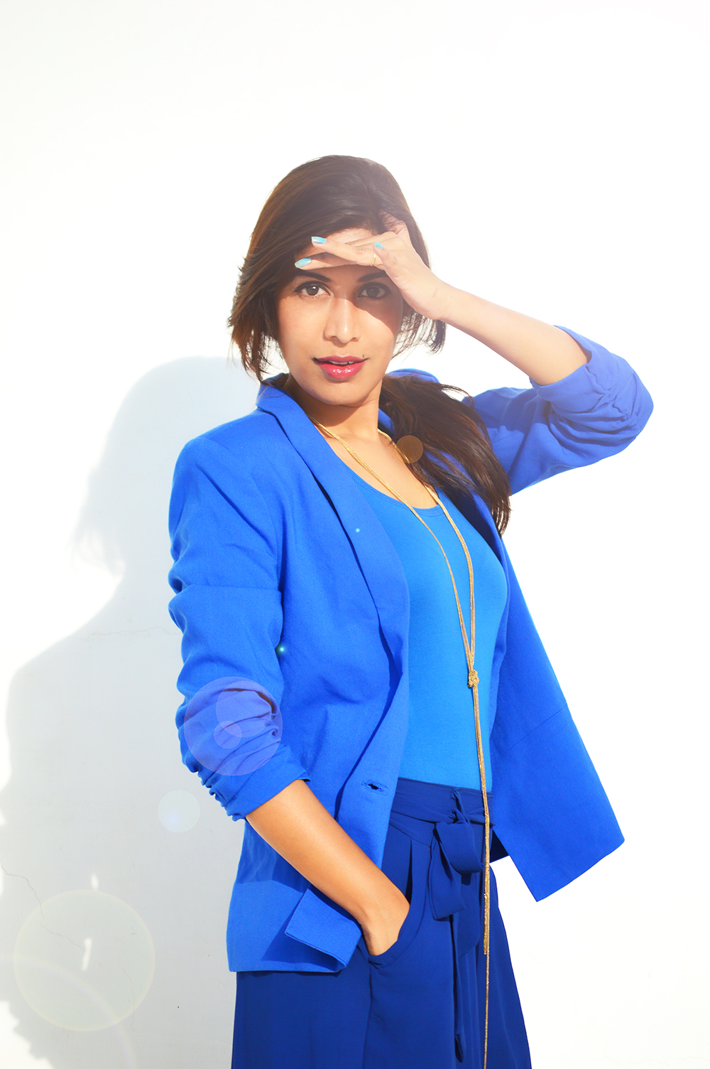 Fashion, Style, Indian Fashion Blog, Fashion Photgraphy, Outfit post, Summer Fashion, Blue Palazzo Pants, Blue Blazer, Vero Moda Blazer, United Colors of Benneton Top, Stylish look post