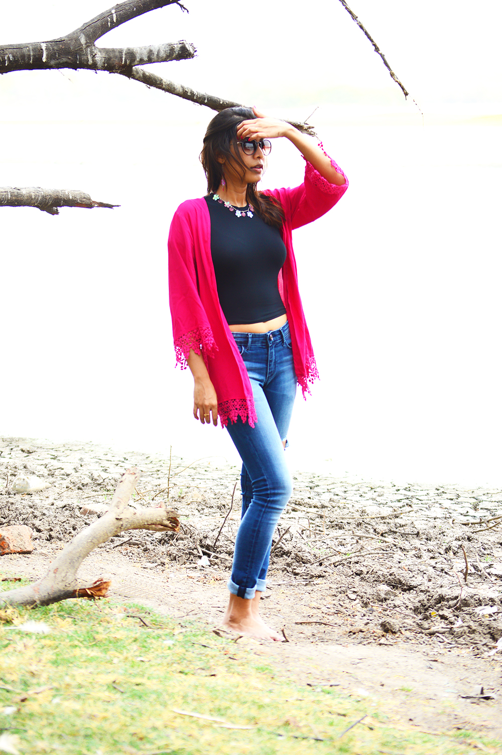 Fashion, Style, Indian Fashion Bloggers, Street Style, Travel, Fashion Photography, Crop Top, Pink Shrug, Thol Bird Sanctury-3
