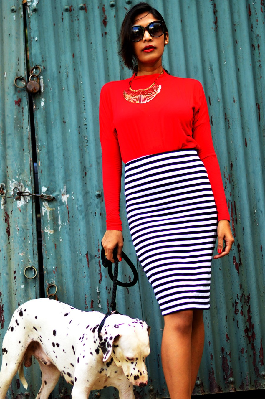 Fashion, Style, Fashion photography, Street Style, Fashion Blogger, Striped Pencil Skirt, Fashion Photo with animals, Red Blouse-5