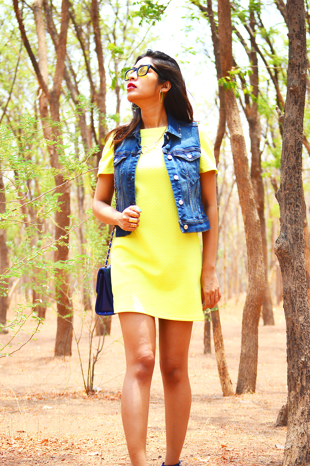 Fashion, Style, Street Style, Summer Fashion, Fashion Photography, Yellow Dress, Denim Vest, Sling Bag, Fashion Blogger, Indian Fashion-3
