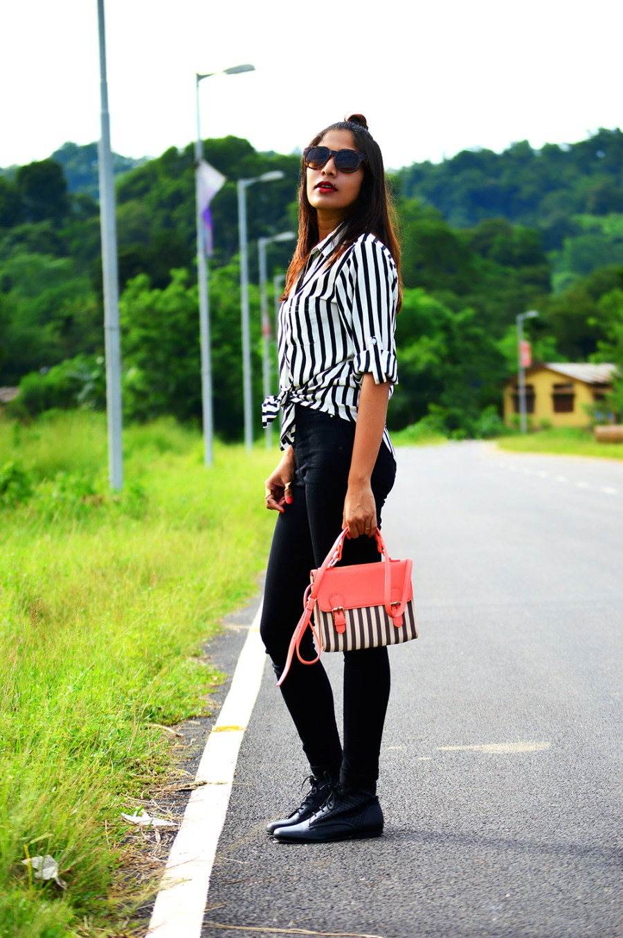 Fashion, Style, Indian Fashion Blogger, Fashion Blogger, Street Style, Summer Fashion, Stripes, Striped Shirt, Black High Wasit Jeans, Black Boots, Hairstyle, Style Over Coffee, Beauty, Sarmistha Goswami, Pankaj Jyoti Barua-2