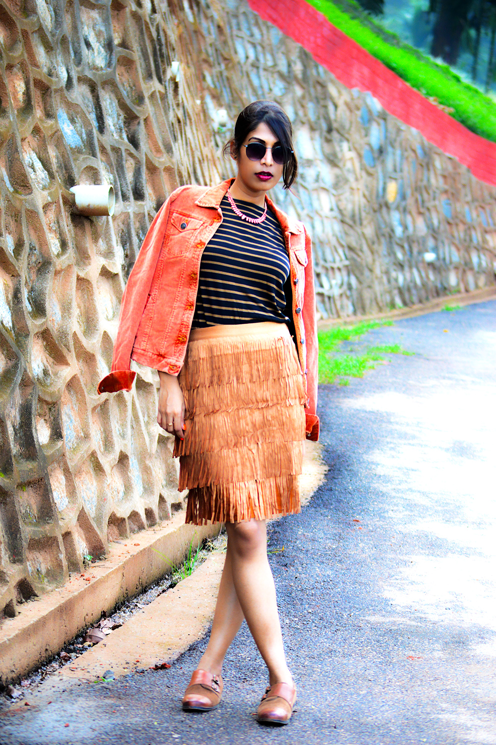 fashion, style, street style, street fashion, sarmistha goswami, style over coffee, pankaj jyoti barua, fashion blogger, indian fashion blogger, summer fashion, indian street style photography, fringe skirt, corduroy jacket, striped tee, lenskart sunglasses, Summer Street Style-6