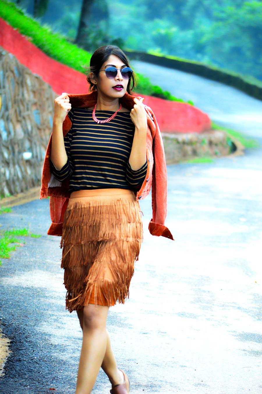 fashion, style, street style, street fashion, sarmistha goswami, style over coffee, pankaj jyoti barua, fashion blogger, indian fashion blogger, summer fashion, indian street style photography, fringe skirt, corduroy jacket, striped tee, lenskart sunglasses, Summer Street Style-4