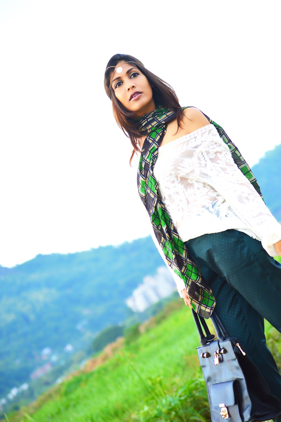 Fashion, Style, Street Style, Fashion Blogger, Fashion Photography, Indian Blogger, Lace Top, Green Trousers, Silk Scarf, Black Bag, Summer Fashion, Style Over Coffee, Pankaj Jyoti Barua Photography, Sarmistha Goswami, Street Style Photography-3