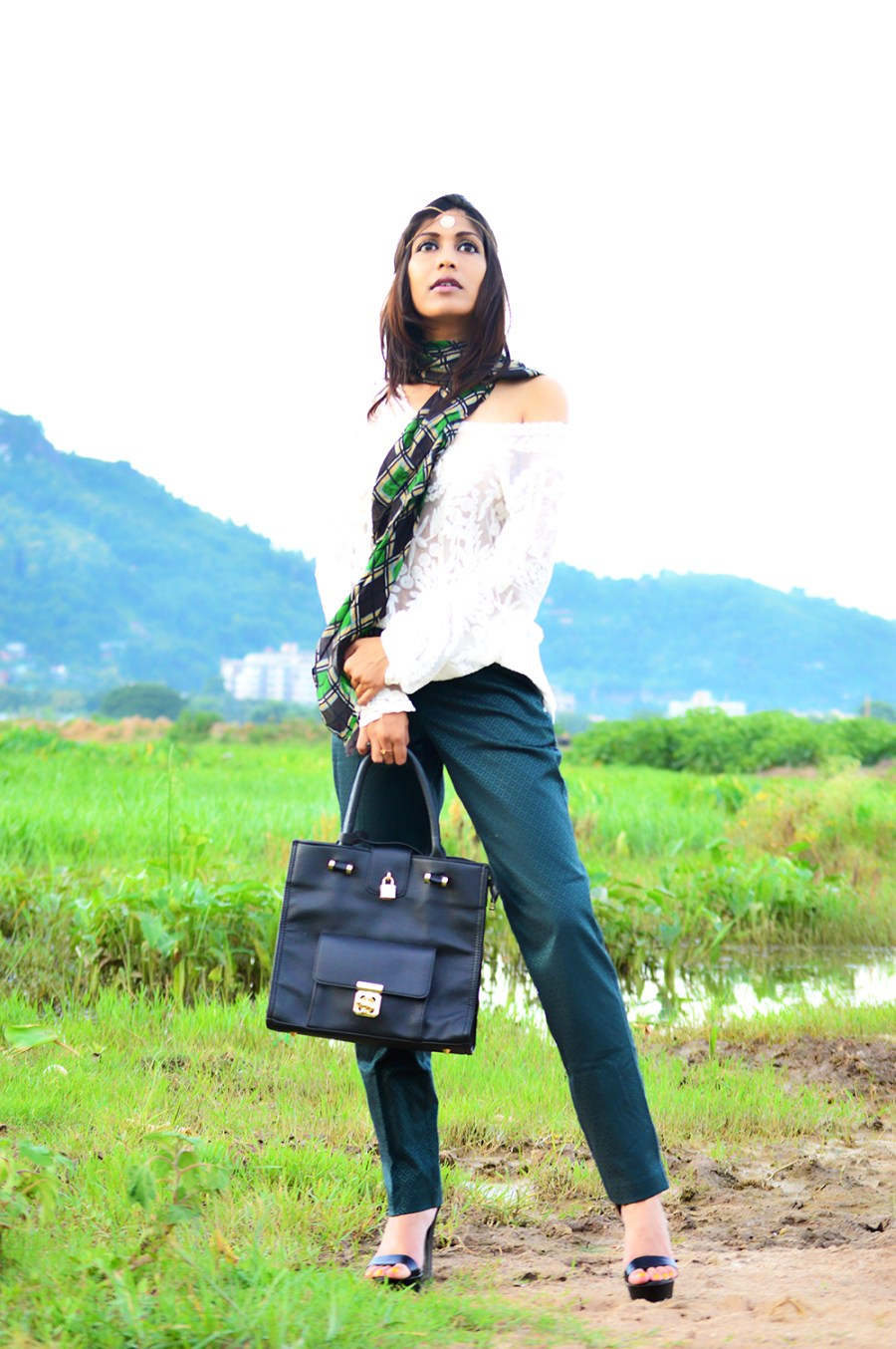 Fashion, Style, Street Style, Fashion Blogger, Fashion Photography, Indian Blogger, Lace Top, Green Trousers, Silk Scarf, Black Bag, Summer Fashion, Style Over Coffee, Pankaj Jyoti Barua Photography, Sarmistha Goswami, Street Style Photography-1