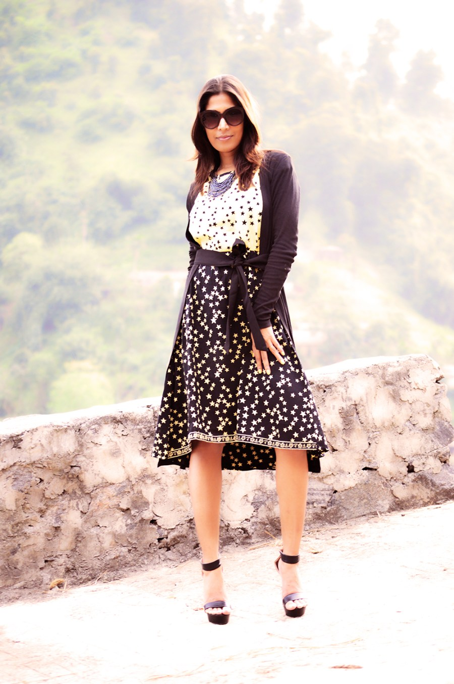 Fashion, Style, Style Over Coffee, Sarmistha Goswami, Fashion Blogger, Street Style, Beauty, Fashion Photography, Star Printed Dress, Black Shrug with belt-2