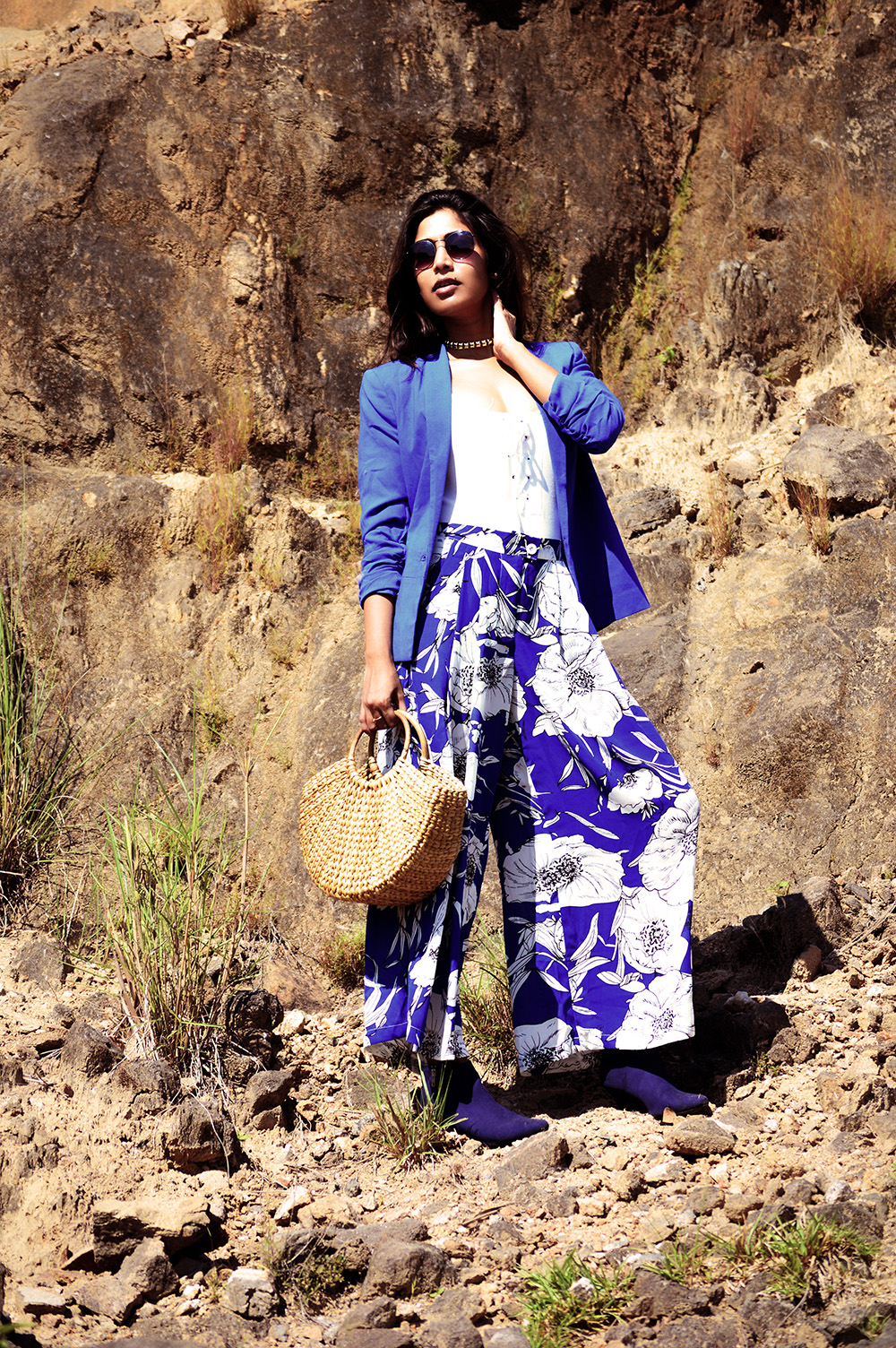 Fashion, Beauty, Lifestyle, Style, Fashion Blogger, Fashion Photography, Straw Bag, Printed Blue Culottes, Blue Blazer, Navy Boots, Round Sunglasses, Fall Fashion- 3