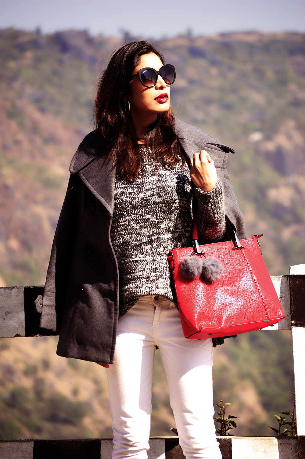 Fashion, Style, Grey Outfit, Vacation Style, Photography, Indian Fashion Blogger, Street Style, Winter Fashion, Grey Coat- 3
