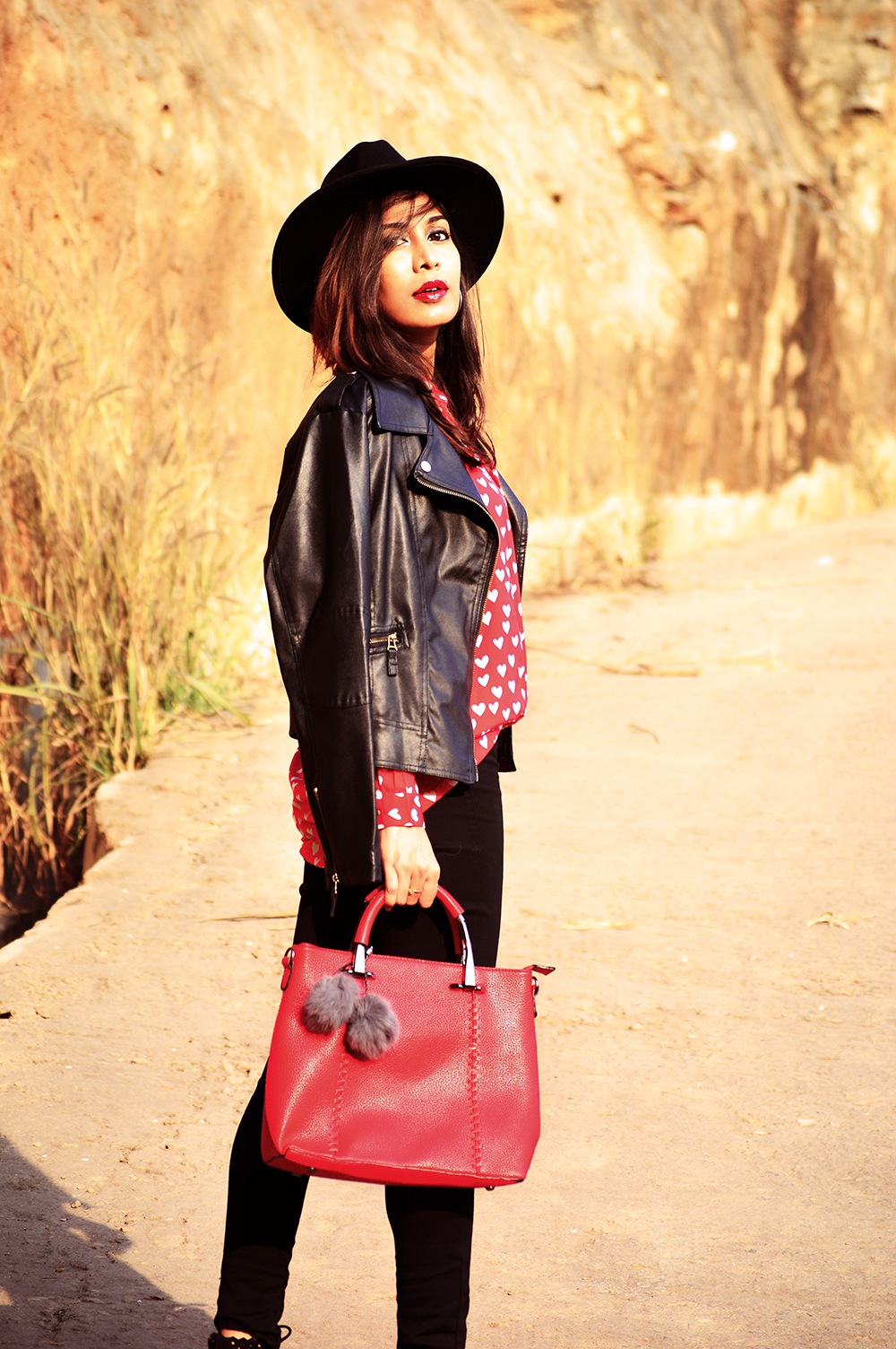 Fashion, Style, Heart Print, Indian Fashion Blogger, Street Style, Beauty, Biker Jacket, Fashion Photography-3