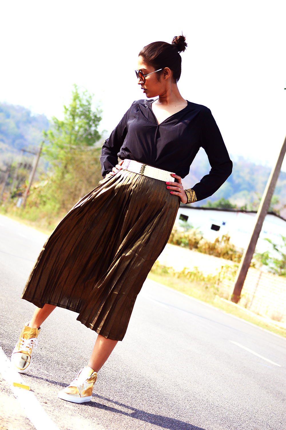Fashion, Style, Indian Fashion Blogger, Golden, Metallic Sneakers, Golden Skirt, Street Style, Photography-6