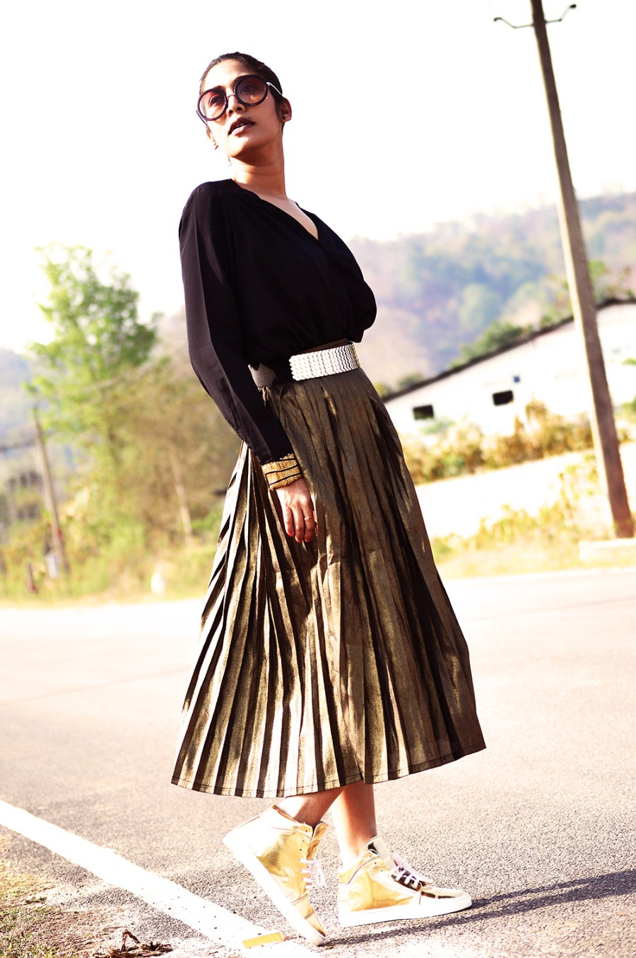 Fashion, Style, Indian Fashion Blogger, Golden, Metallic Sneakers, Golden Skirt, Street Style, Photography-2
