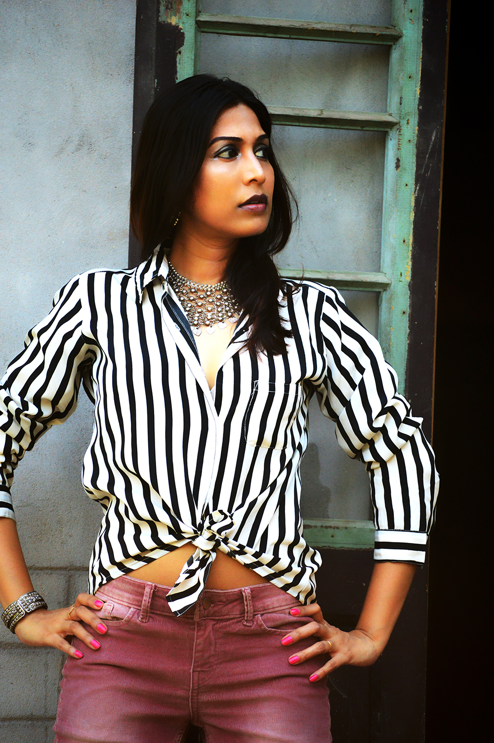 Powder Pink. Corduroy Pants, Fashion, Style, Indian Fashion Blogger, Photography, Stripes-3