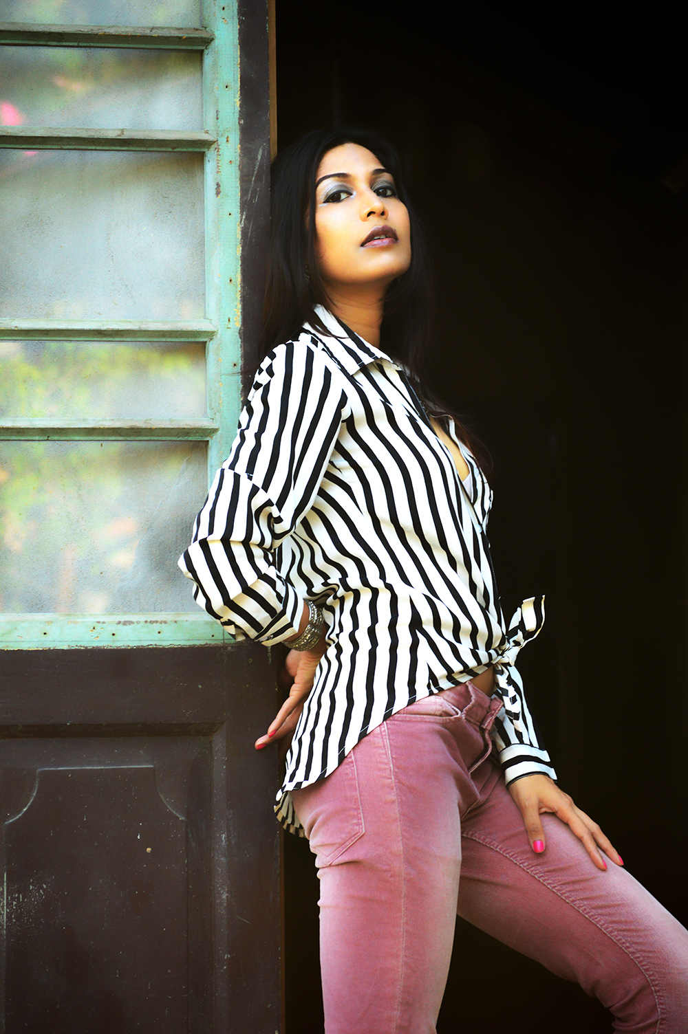 Powder Pink. Corduroy Pants, Fashion, Style, Indian Fashion Blogger, Photography, Stripes-5