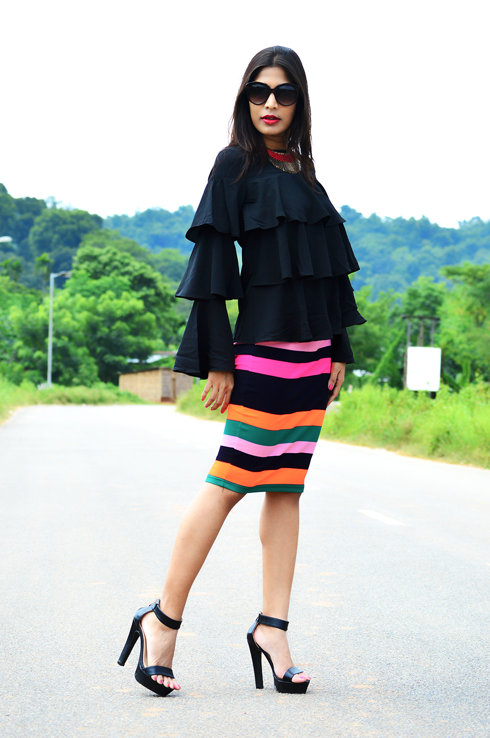 Fashion, Street Fashion, Street Style, Indian Fashion Blogger, Photography, Striped Pencil Skirt, Ruffles, Outfit of the day-6