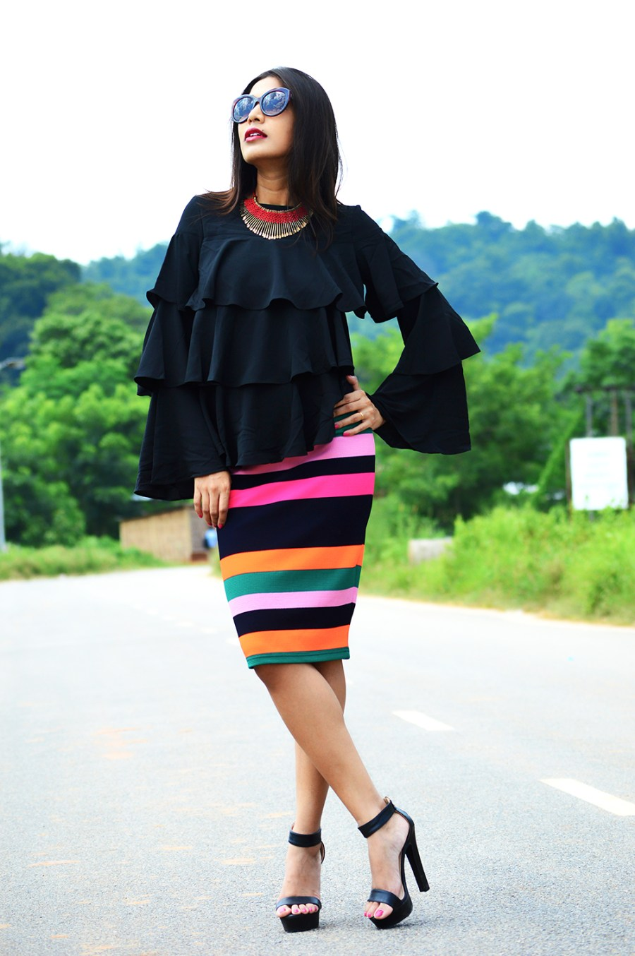 Fashion, Street Fashion, Street Style, Indian Fashion Blogger, Photography, Striped Pencil Skirt, Ruffles, Outfit of the day-2