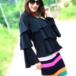 Fashion, Street Fashion, Street Style, Indian Fashion Blogger, Photography, Striped Pencil Skirt, Ruffles, Outfit of the day-7
