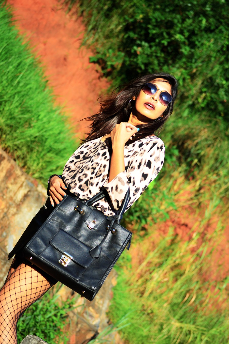 Leopard Top, Street Style, Indian Fashion Blogger, Fashion, Style, Fishnet Stockings, Faux Leather skirt, Photography-2
