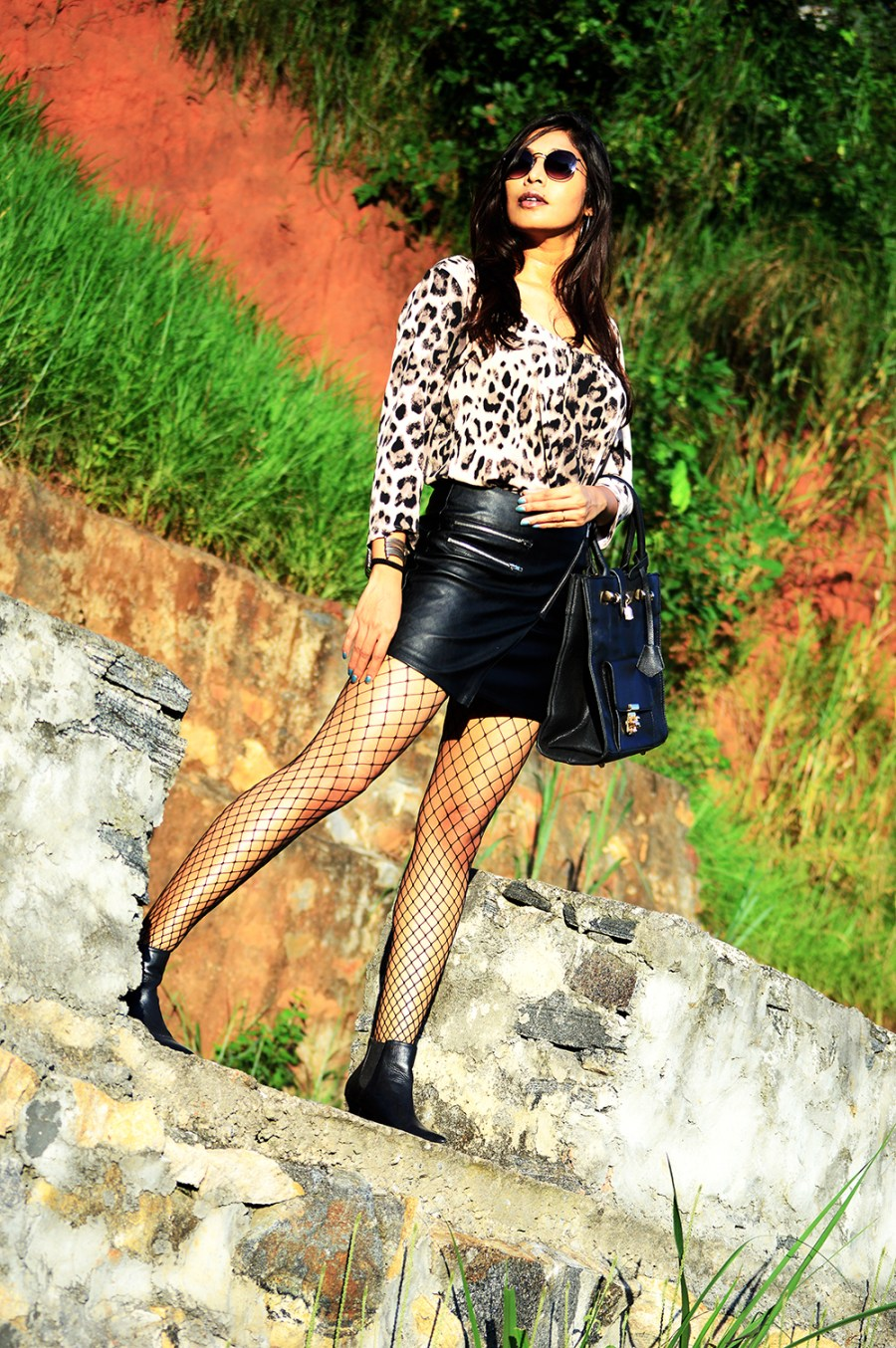 Leopard Top, Street Style, Indian Fashion Blogger, Fashion, Style, Fishnet Stockings, Faux Leather skirt, Photography-4