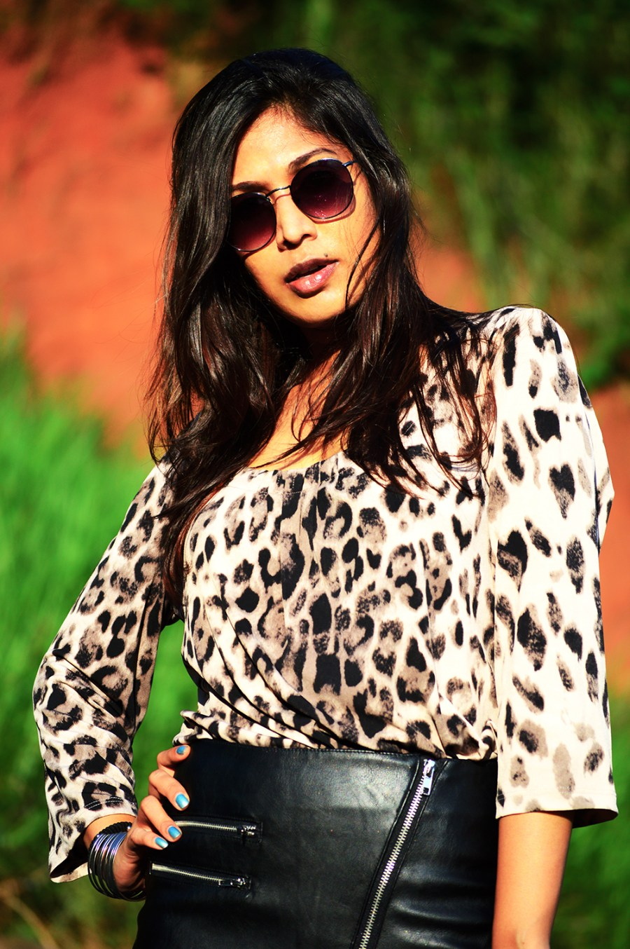 Leopard Top, Street Style, Indian Fashion Blogger, Fashion, Style, Fishnet Stockings, Faux Leather skirt, Photography-7
