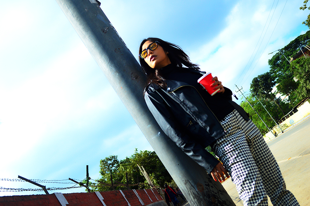 Black Color, Fashion, style, Indian Fashion Blogger, Street Style, Beauty, Photography, OOTD, Biker Jacket, Hounds tooth-4