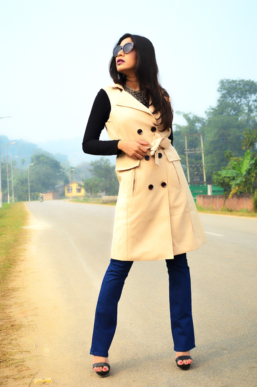 Sleeveless, Trench Coat, Bootcut Denims, Fashion, Style, Photography, Street Style, Indian Blogger, Fashion Blogger-2