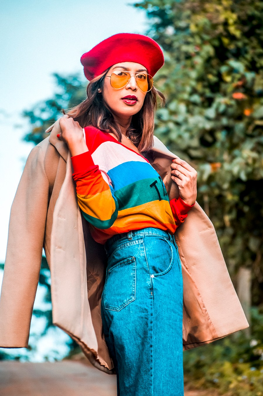 Winter Wear, Bright Colors, Denim Style, Red Boots, Pleated Denim, Red beret, Indian Fashion Blogger, Indian Influencer-3