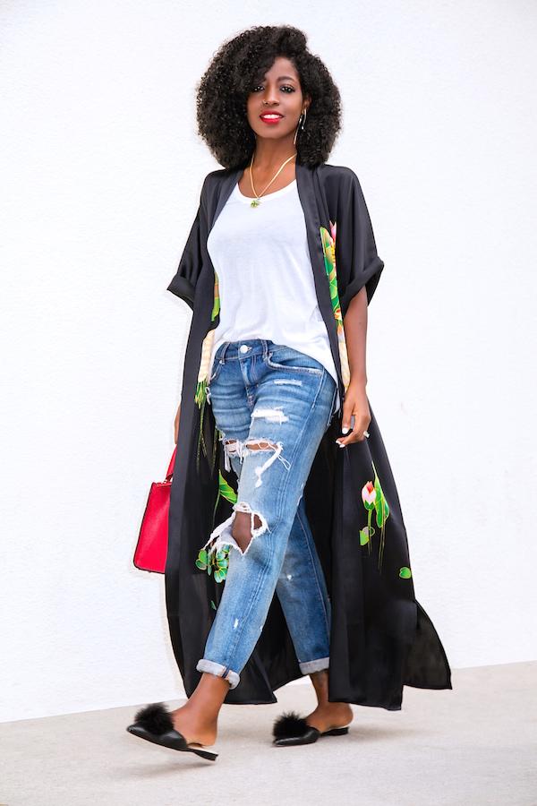 Style Pantry Kimono Robe Tank Distressed Boyfriend Jeans