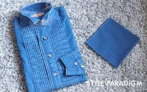 デニムのオーダーシャツとお揃いのポケットチーフ
