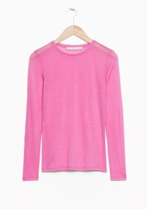 &Other Stories Long-Sleeved Wool Top pink (100% wool)