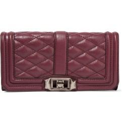 REBECCA MINKOFF Mini Love quilted leather clutch in burgundy