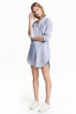 H&M Long shirt in a linen blend