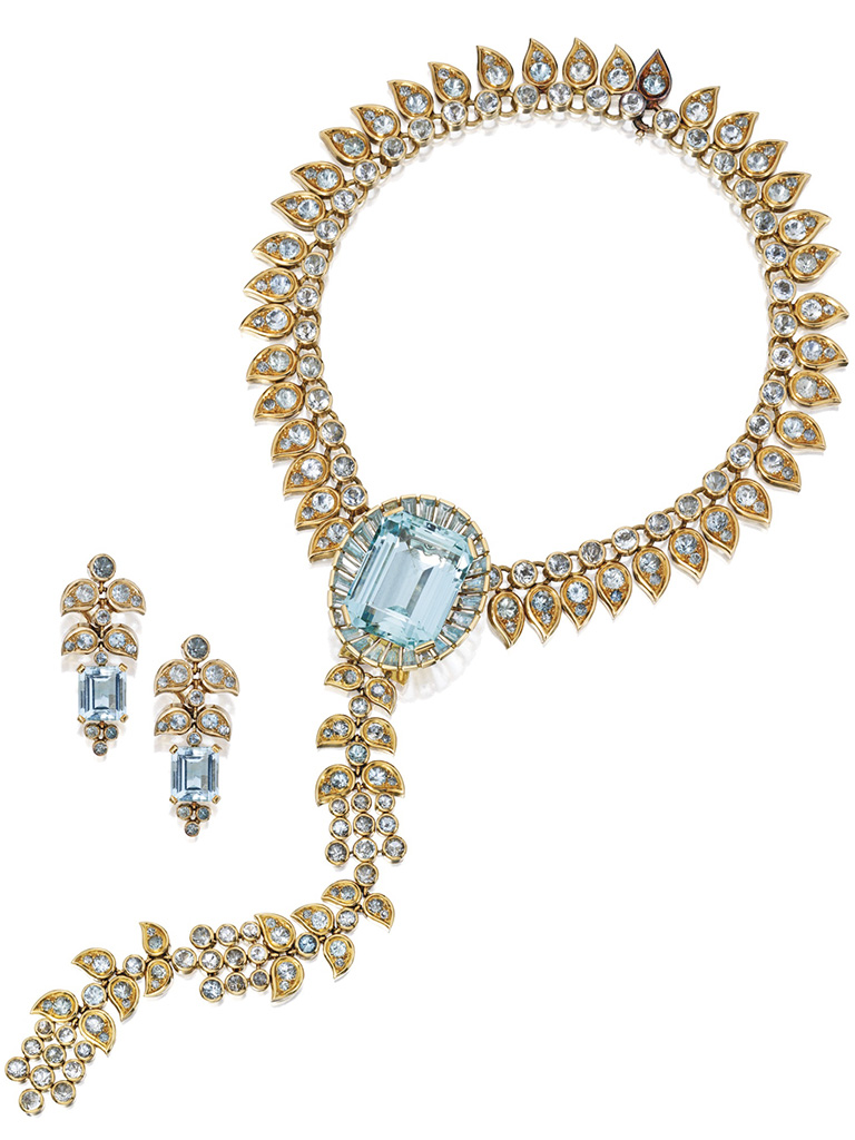 18 kt Gold and Aquamarine Necklace-Bodice Ornament combination with matching Earclips. PC- sothebys.com