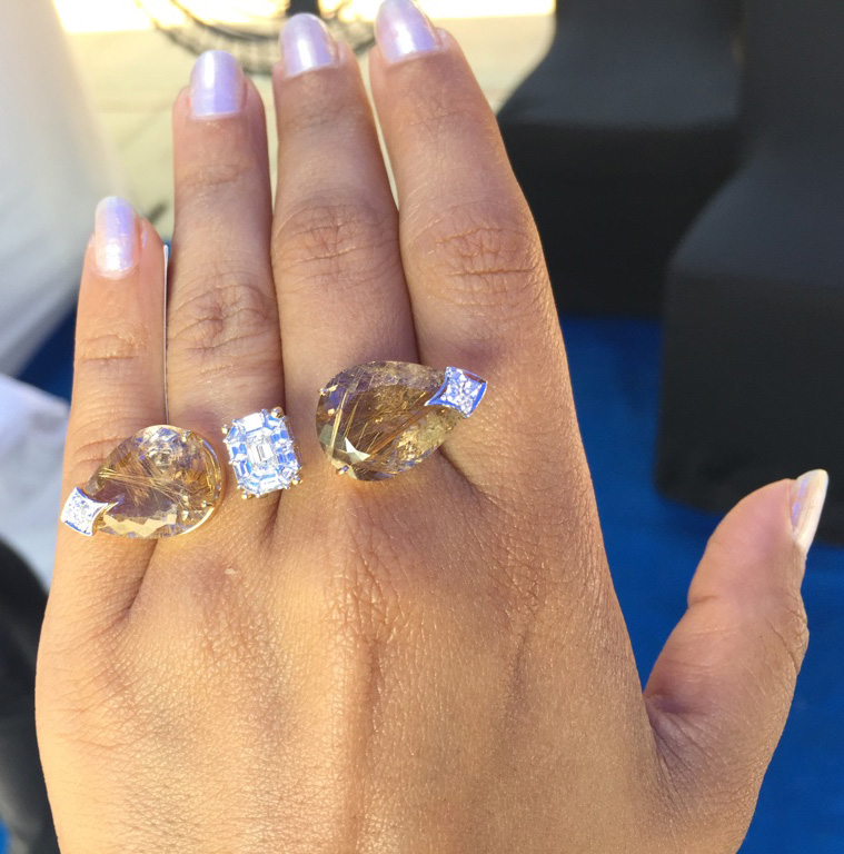 PC - Style Prer. Jewelry - Jewels by Avani Sayed. Diamond and Rutile Quartz two finger ring.