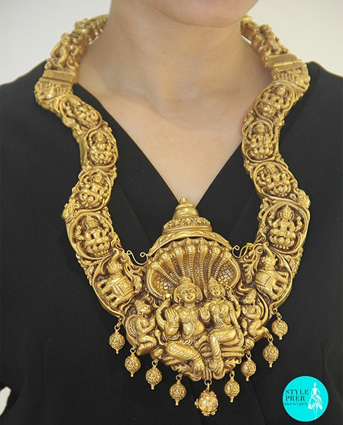 Shiva Parvati Necklace Set With Nakshi And Antique Polish- Jai Gulabdev Jewellers.