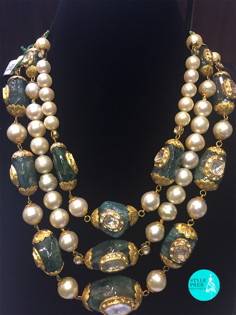 Emerald Roughs, Polki, South Sea Pearl In Gold-Rambhajo Jewellers