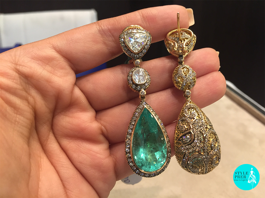 Colombian Pear Emeralds Weighing Approx 37cts With Diamond Studded Jaali Back In Gold-Ghatiwala Jewellers.